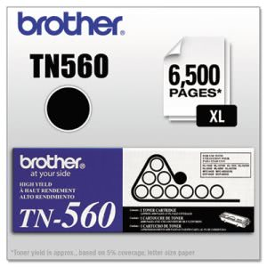 Brother TN560 High-Yield Toner, 6500 Page-Yield, Black (BRTTN560)