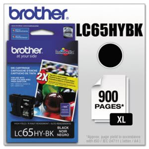 Brother LC65HYBK (LC-65HYBK) High-Yield Ink, 900 Page-Yield, Black (BRTLC65HYBK)