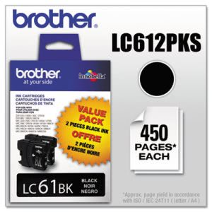 Brother LC612PKS (LC-61) Ink, 500 Page-Yield, 2/Pack, Black (BRTLC612PKS)