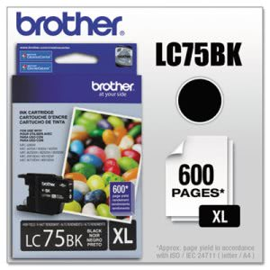 Brother LC75BK (LC-75BK) High-Yield Ink, 600 Page-Yield, Black (BRTLC75BK)