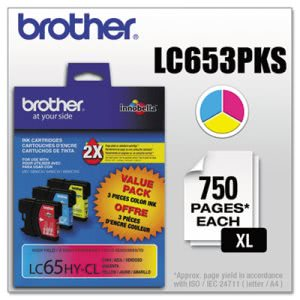Brother Yield Ink, 900 Yield, 3 per Pack, Cyan; Magenta; Yellow (BRTLC653PKS)