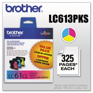 Brother LC613PKS (LC-61) Ink, 500 Yield, Cyan; Magenta; Yellow (BRTLC613PKS)