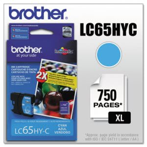 Brother LC65HYC (LC-65HYC) High-Yield Ink, 750 Page-Yield, Cyan (BRTLC65HYC)