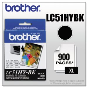 Brother LC51HYBK Innobella High-Yield Ink, 900 Page-Yield, Black (BRTLC51HYBK)
