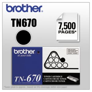Brother TN670 High-Yield Toner, 7500 Page-Yield, Black (BRTTN670)