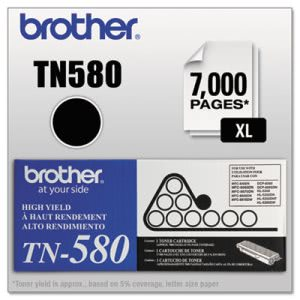 Brother TN580 High-Yield Toner, 7000 Page-Yield, Black (BRTTN580)