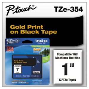 Brother P-touch TZe Standard Laminated Labeling Tape, Gold on Black (BRTTZE354)