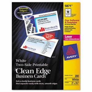 Avery 2-Side Clean Edge Laser Business Cards, 2 x 3 1/2, Wht, 1000/BX (AVE5874)