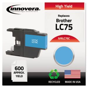 Innovera Remanufactured Ink, 600 Page-Yield, Cyan,1 Each (IVRLC75C)