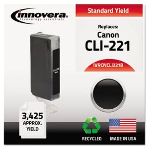 Innovera CNCLI221B Compatible, Remanufactured, (CLI221) Ink, 2500 Yield, Black (IVRCNCLI221B)