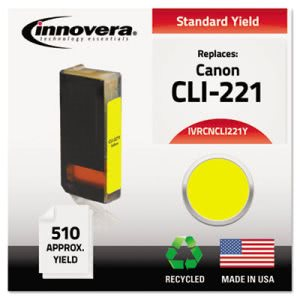 Innovera CNCLI221Y Compatible, Remanufactured, 2949B001 (CLI221) Ink, Yellow (IVRCNCLI221Y)