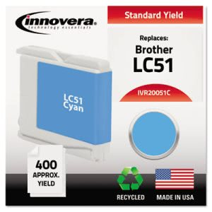 Innovera 20051C Compatible, Remanufactured, LC51C Ink, Cyan (IVR20051C)