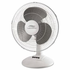 "Lakewood 12"" 3-Speed Oscillating Desk Fan, Metal/Plastic, White (LAKLDF1210BWM)"