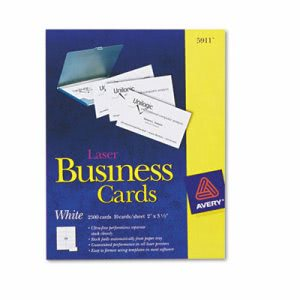 Avery Laser Business Cards, 2 x 3 1/2, White, 10 Cards/Sheet, 2500/Box (AVE5911)