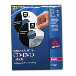 Avery Laser CD/DVD Disc Labels, Matte White, 50/Pack (AVE5931)