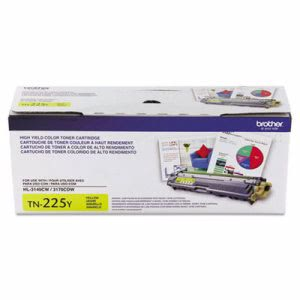 Brother TN225Y High-Yield Toner Cartridge, 2200 Page-Yield, Yellow (BRTTN225Y)