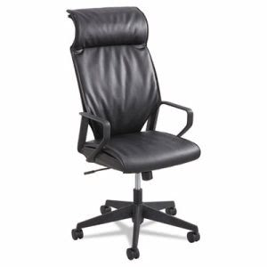 Safco Priya Series Leather Executive High-Back Chair, Loop Arms, Blk (SAF5075BL)