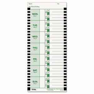 Lathem Time Card for Model 800P, 4 x 9, Weekly, 1-Sided, 100 Cards (LTHE8100)