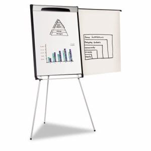 "Mastervision Tripod Extension Bar Magnetic Dry-Erase Easel, 39"" to 72"" High, Black/Silver (BVCEA23066720)"