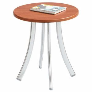Safco Decori Wood Side Table, Round, 15-3/4 x 18-1/2, Cherry/Silver (SAF5098CY)