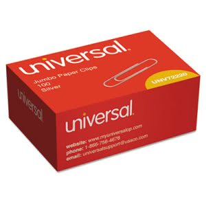 Universal Smooth Wire Paper Clips, Jumbo, Silver, 100 Paper Clips (UNV72220BX)