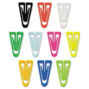 "Gem Paper Clips, Plastic, Large (1-3/8""), Assorted Colors, 200/ Box (GEMPC0600)"