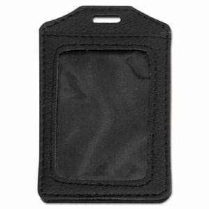 Advantus Leather-Look Badge Holder, 3 x 4, Vertical, Black, 5/PK (AVT76343)