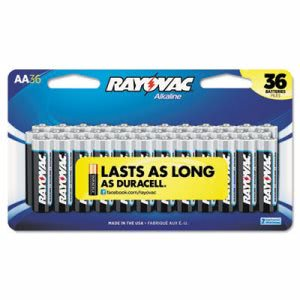 Rayovac Alkaline Batteries, AA, Peggable Large Card, 36/Pk (RAY81536CF2)