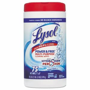 Lysol Power & Free Multi-Purpose Cleaning Wipes, 75/Canister, 6/Ctn (RAC88070CT)