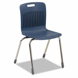 Virco Analogy Extra-Large Stack Chairs, Navy/Chrome, 4 Chairs (VIRAN18ELB51CRM)