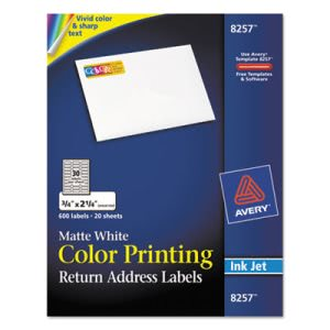 Avery Inkjet Labels for Color Printing, 3/4 x 2-1/4, White, 600/Pack (AVE8257)