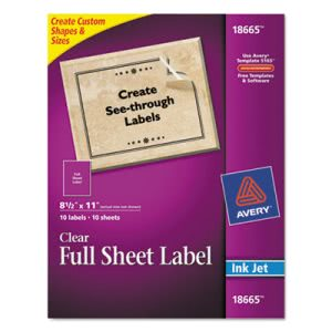 Avery Mailing Labels for Inkjet Printers, 8-1/2 x 11, Clear, 10/Pack (AVE18665)