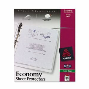 Avery Top-Load Poly Sheet Protectors, Gauge, Semi-Clear, 100 per Box (AVE74101)