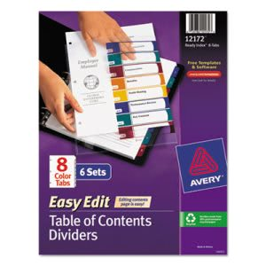 Avery Ready Index Contents Dividers, Title 1-8, Letter, 6 Sets (AVE12172)