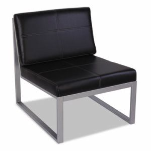Alera Reception Lounge Series Armless Cube Chair, Black/Silver (ALERL8319CS)