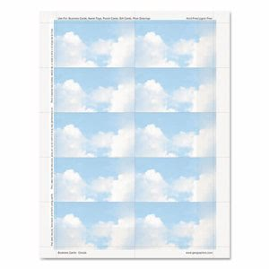 Geographics Clouds Design Business Suite Cards, 3 1/2 x 2, 65 lb Cardstock, 250 Cards/Pack (GEO47372S)