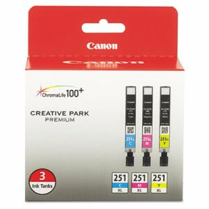 Canon 6449B009 High-Yield Ink, 11 mL, Cyan, Magenta, Yellow, 3/Pk (CNM6449B009)