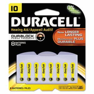 Duracell Lithium Medical Battery, 3V, #10, 8/Pk (DURDA10B8ZM10)