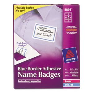 Avery Self-Adhesive Laser/Inkjet Name Badge Labels, Blue, 400 per Box (AVE5895)