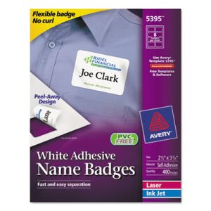 Avery Flexible Self-Adhesive Laser/Inkjet Name Badge Label, 400 Labels (AVE5395)