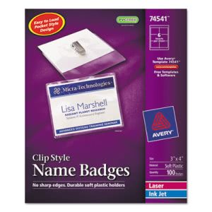 Avery Badge Holders w/Laser/Inkjet Inserts, 3 x 4, White, 100 per Box (AVE74541)
