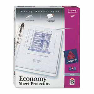 Avery Top-Load Poly 3-Hole Sheet Protectors, Economy Gauge, 100/Box (AVE75091)