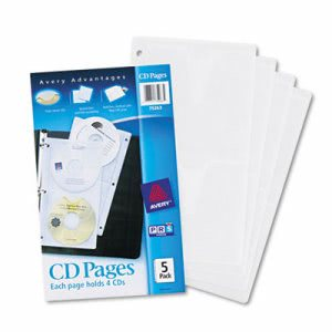 Avery Two-Sided CD Organizer Sheets for Three-Ring Binder, 5/Pack (AVE75263)