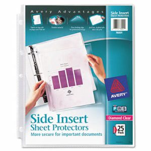 Avery Secure Side-Load Sheet Protectors, Heavy Gauge, Ltr, Diamond Clear, 25/Pack (AVE76001)