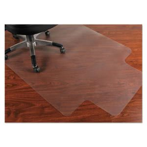 PVC Chair Mat for Hard Floors, 45 x 53, 12 x 25 Lip, Clear (MPVV4553LHF)
