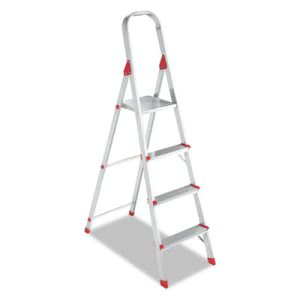 Louisville Four-Foot Folding Aluminum Euro Platform Ladder, Red (DADL234604)
