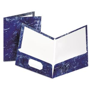 Oxford Marble Laminated Portfolio, High Gloss, Laminated Paper, Navy (OXF51643)
