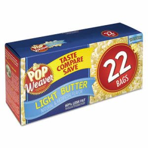 Pop Weaver Microwave Popcorn, Light Butter, 2.5oz Bag, 22/Box (OFX105511)