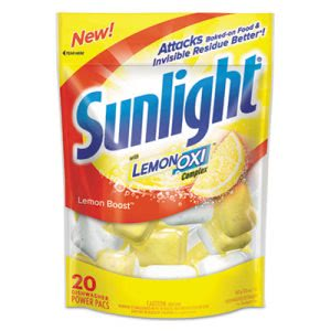 Sunlight Dishwasher Detergent Pouches, Lemon Scent, 20 Pouches (DVOCB711021)
