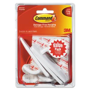 Command General Purpose Hooks Value Pack, Large, White, 3 Hooks (MMM17003VP3PK)